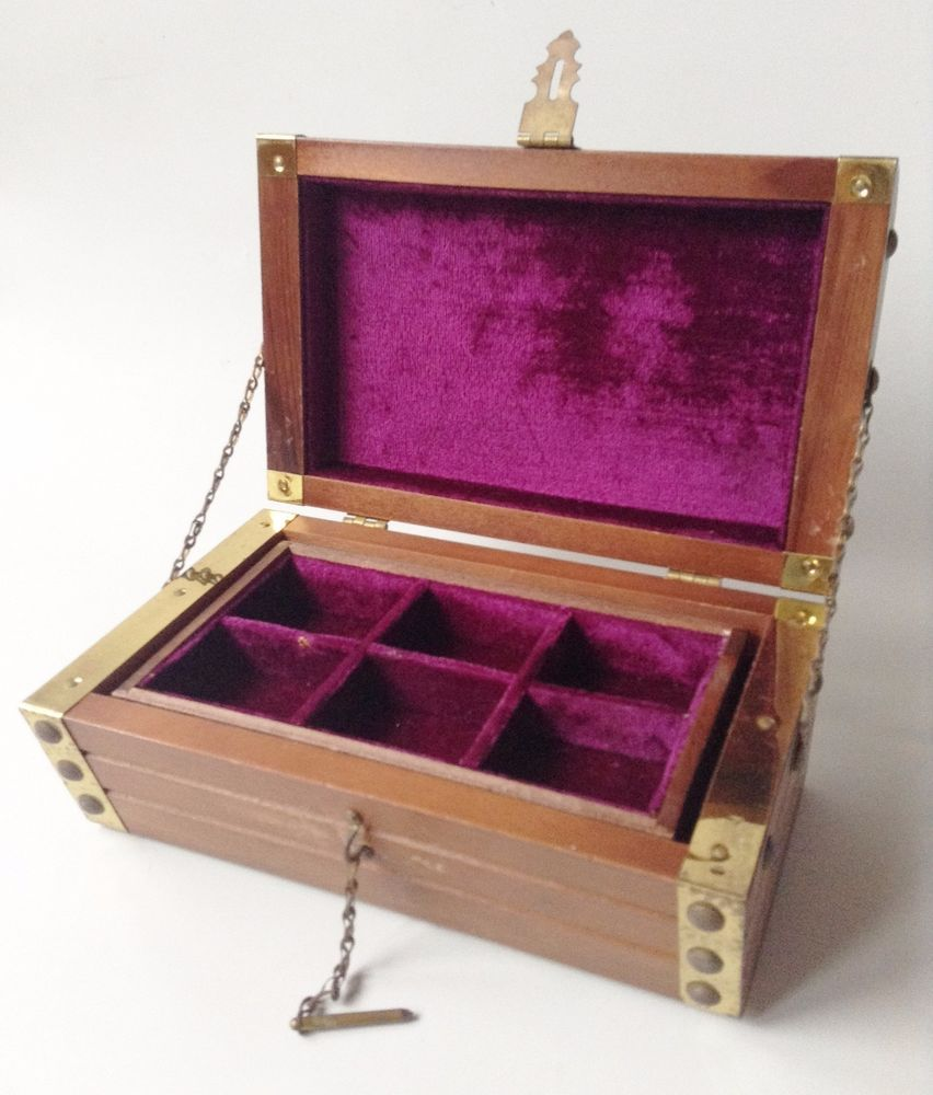 Vintage Brass & Solid Wood Felt Lined Jewelry Box, Made in JAPAN