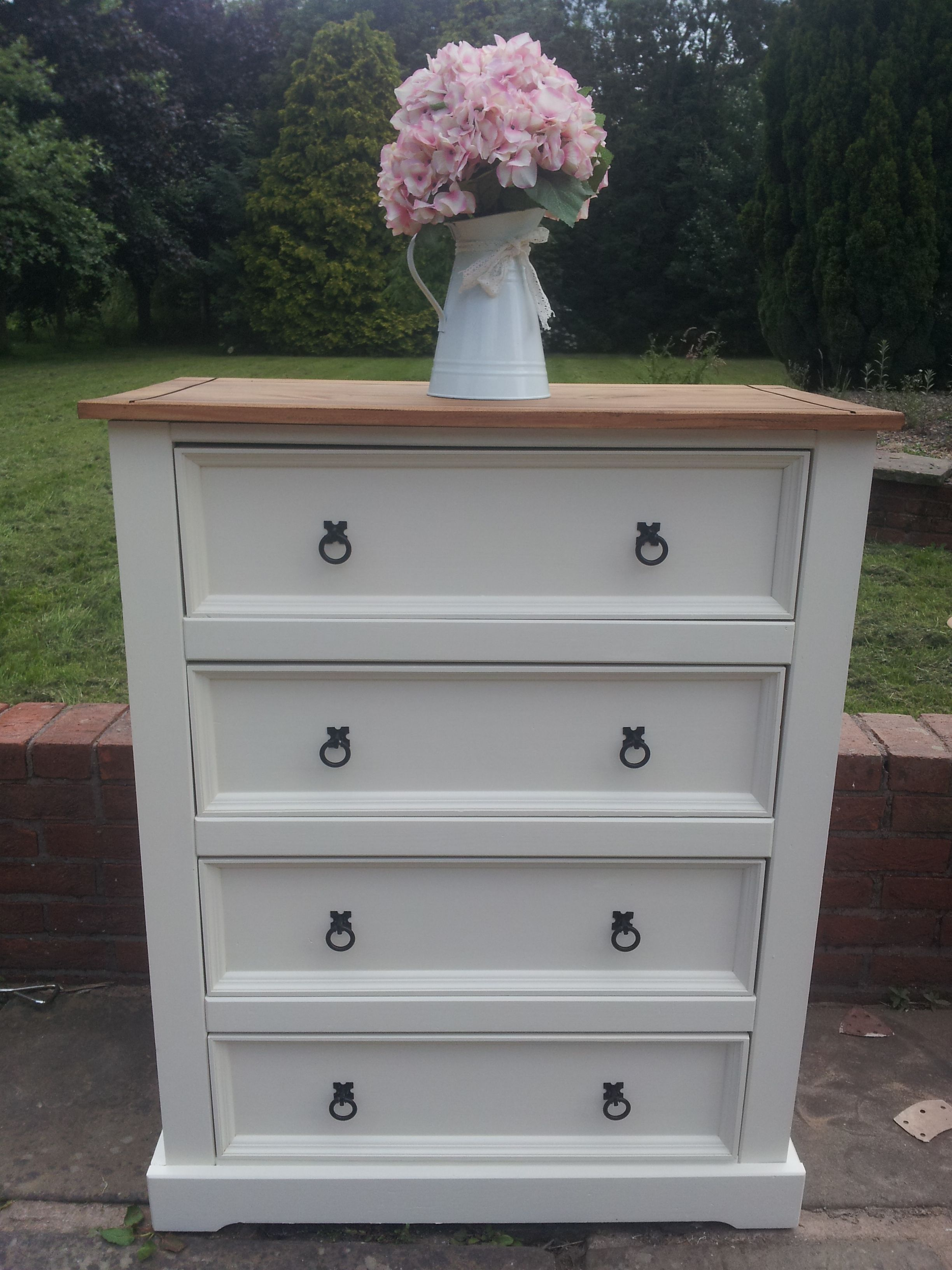 Painted pine farmhouse kitchen table by distressed but not forsaken - Re Loved Painted Mexican Pine Chest Of Drawers By Farmhouse Vintage Mexican Furniturepine