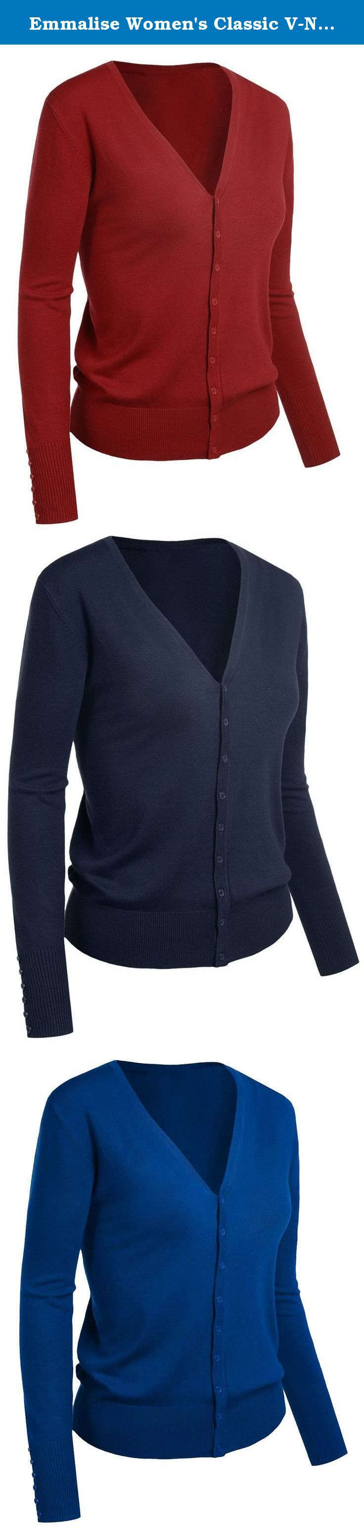 Emmalise Women's Classic V-Neck Button Down Cardigan Sweater Small to XL. Great basic sweater cardigan top for work or any occasion. Great looking, comfortable and soft. Perfect for work or for any professional working environment. Emmalise is a progressive active basic apparel line designed in Los Angeles, California. Our focus is to create high quality, comfortable everyday clothing for women, men, children, and infants. Our design collection includes high quality every day long and…