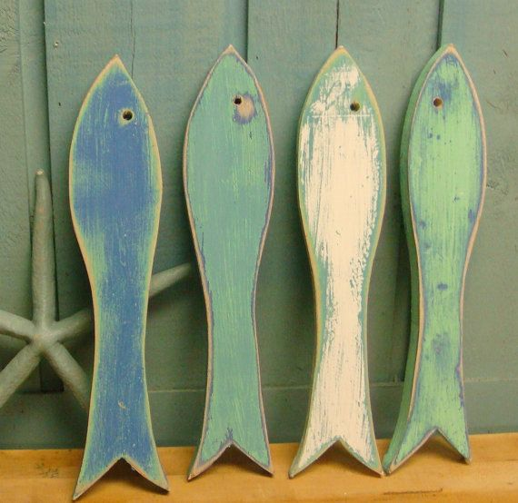 Fish Sign Wall Art Beach Lake House Decor Set of Four ...
