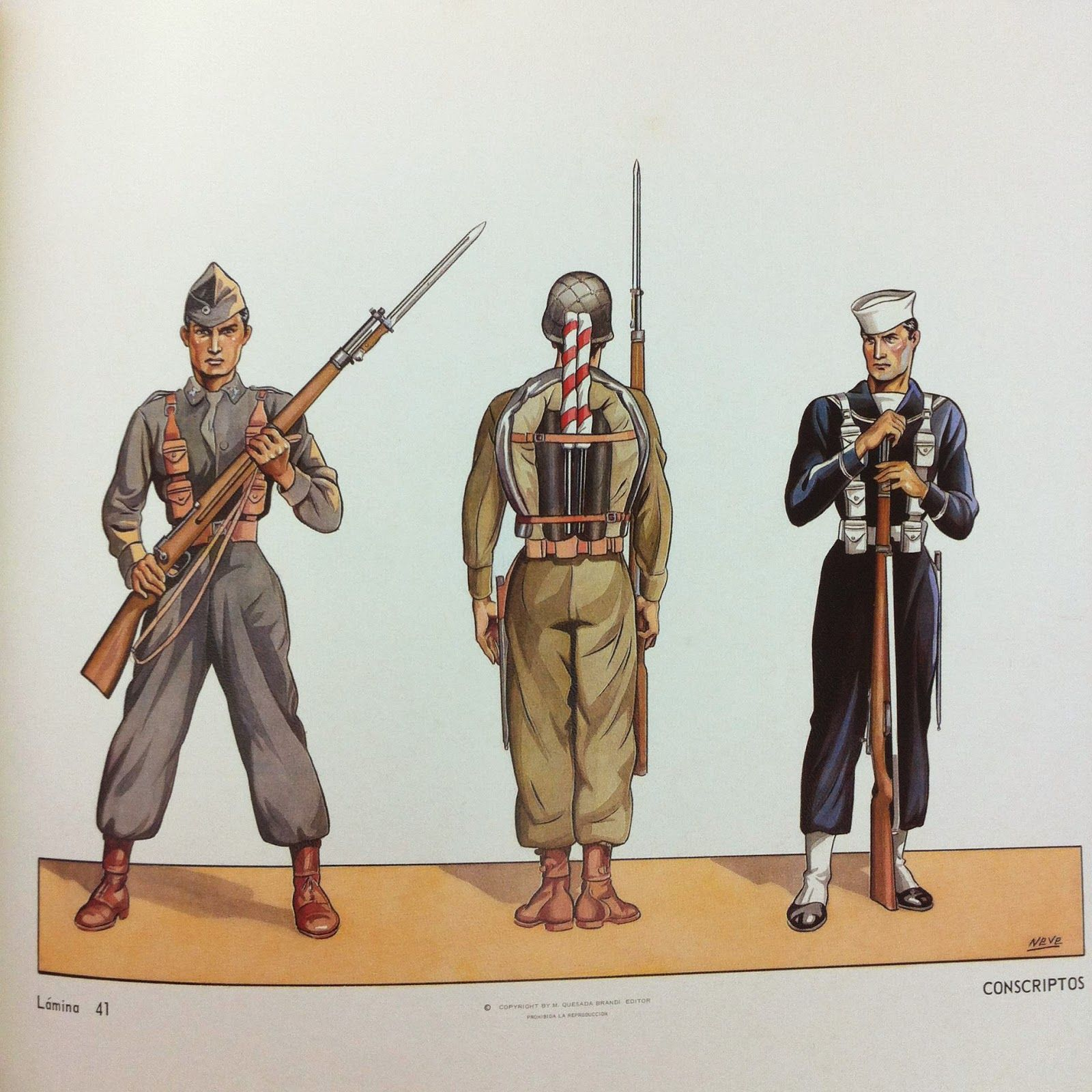 Uniformes de soldados y marineros conscriptos del Ejército Mexicano