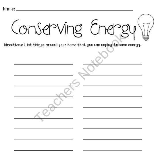 Conserving Energy Worksheet | Teaching-Earth Day | Worksheets ...