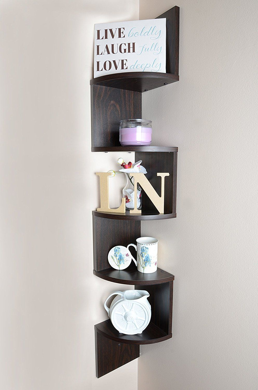 Adorn Large 5 Tier Corner Shelf Wall Mount Brown Check This Awesome Image Floating Shel Wall Mounted Corner Shelves Corner Shelves Wall Mounted Shelves