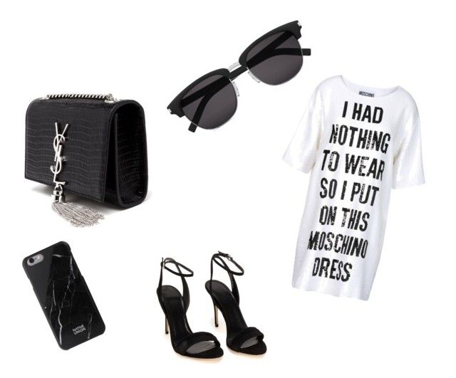 """""""MOSCHINO"""" by yulianapreciado on Polyvore featuring Moschino, Yves Saint Laurent and Native Union"""