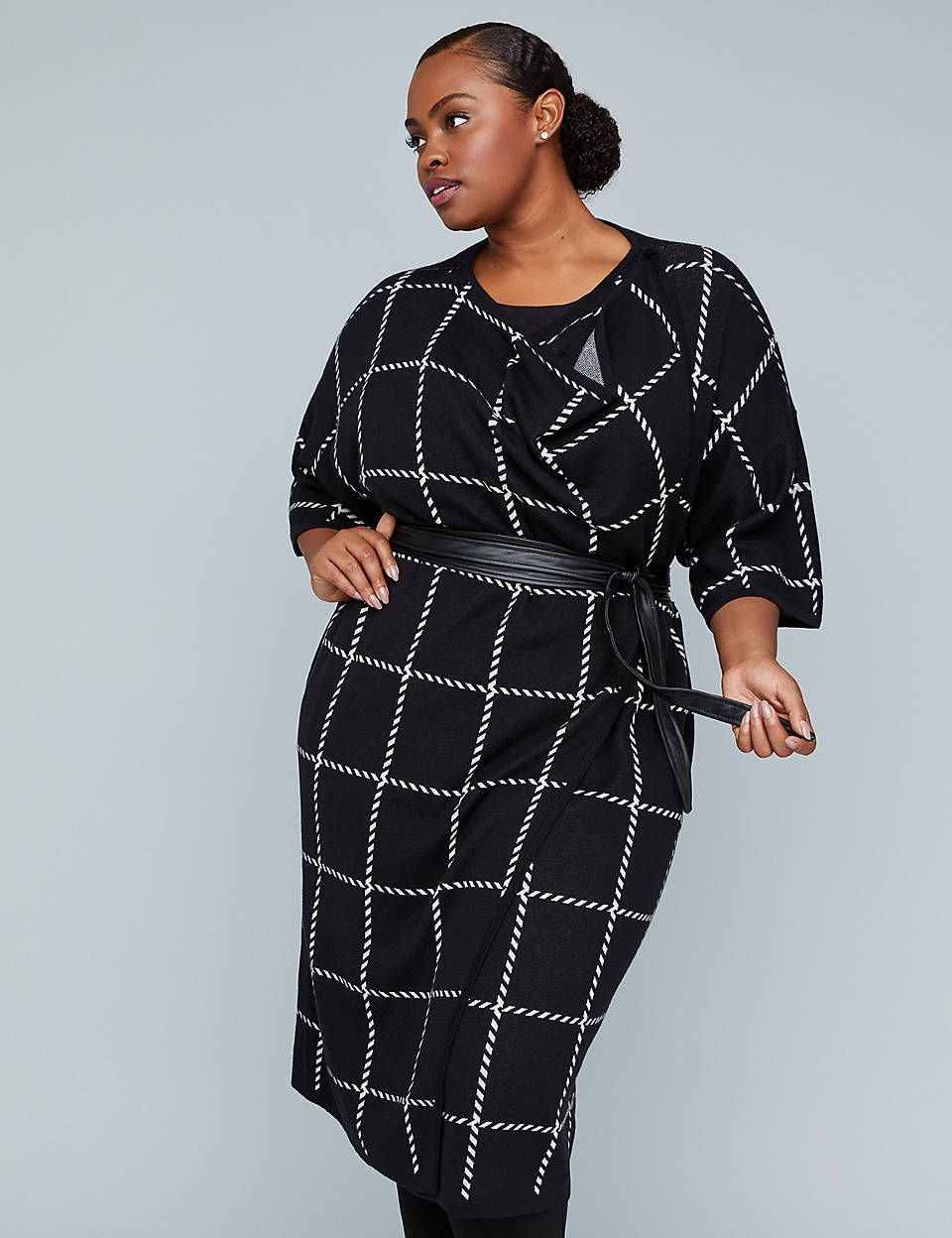 bd03714d6b25 Girl With Curves Wrap Poncho with Faux Leather Belt | Lane Bryant ...