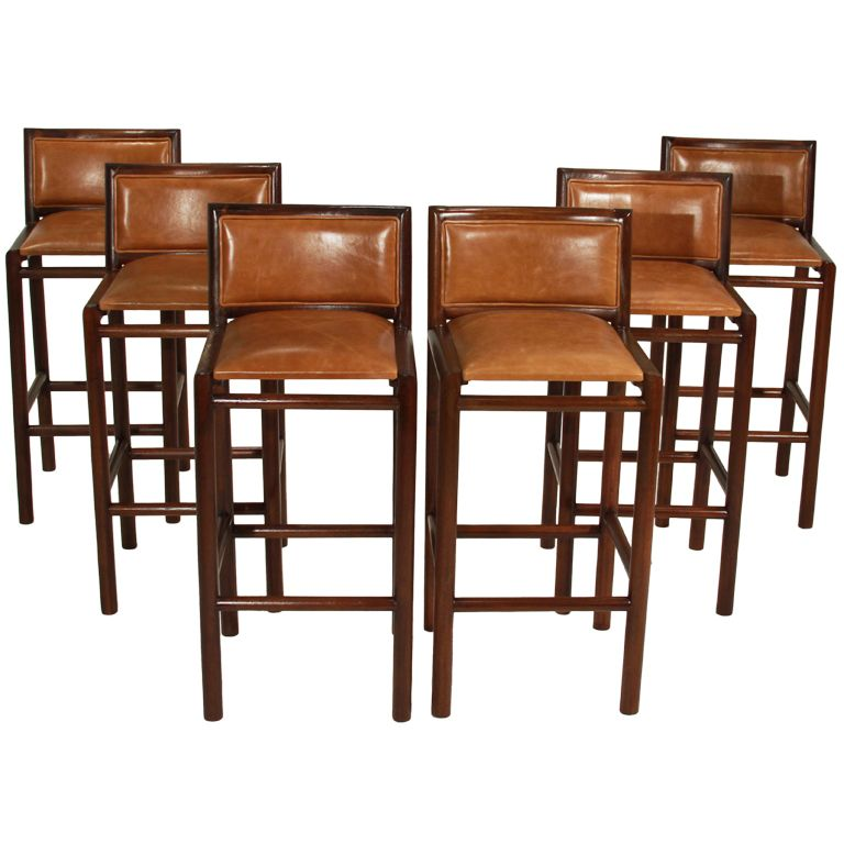 pair of 2 solid bar stools with burnt caramel leather by celina