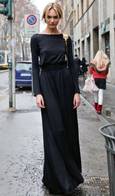 Images of Casual Long Black Dress - Reikian