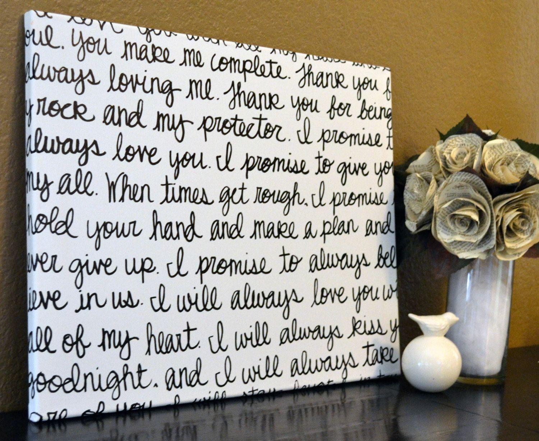 Wedding Vow Gifts: Custom Wedding Vows Handwritten Script Canvas Wall Art