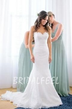 White Lace Applique Strapless Classic Spring Wedding Gown With Subtle Sweetheart Neckline