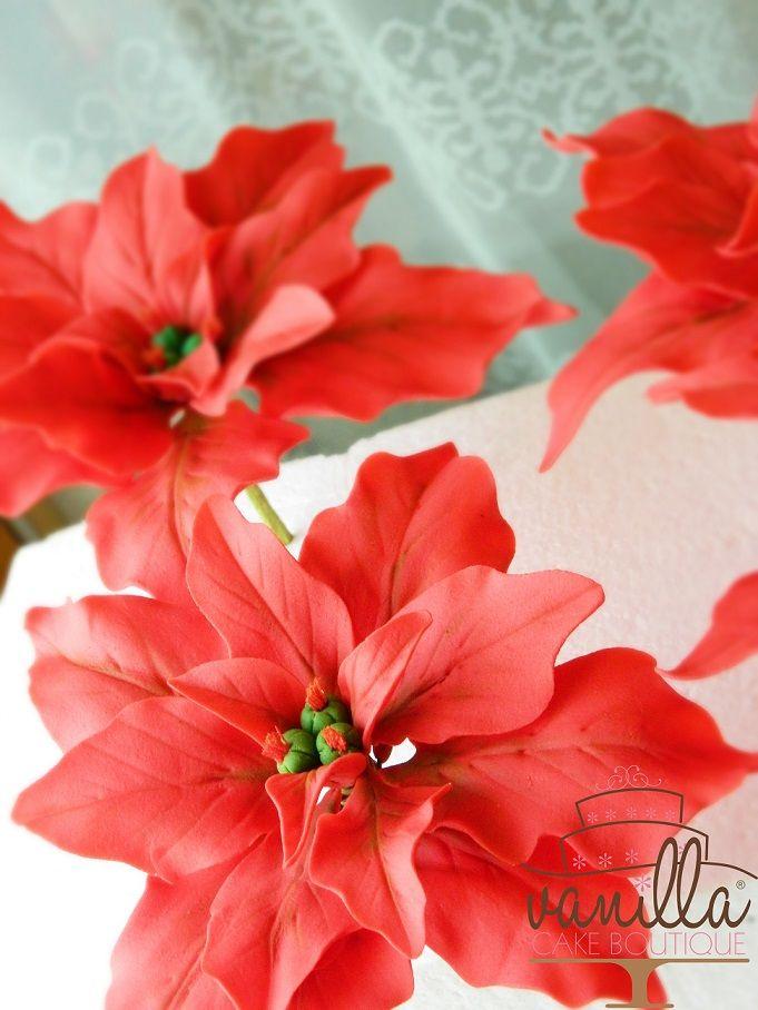 Poinsettia flower in gum-paste