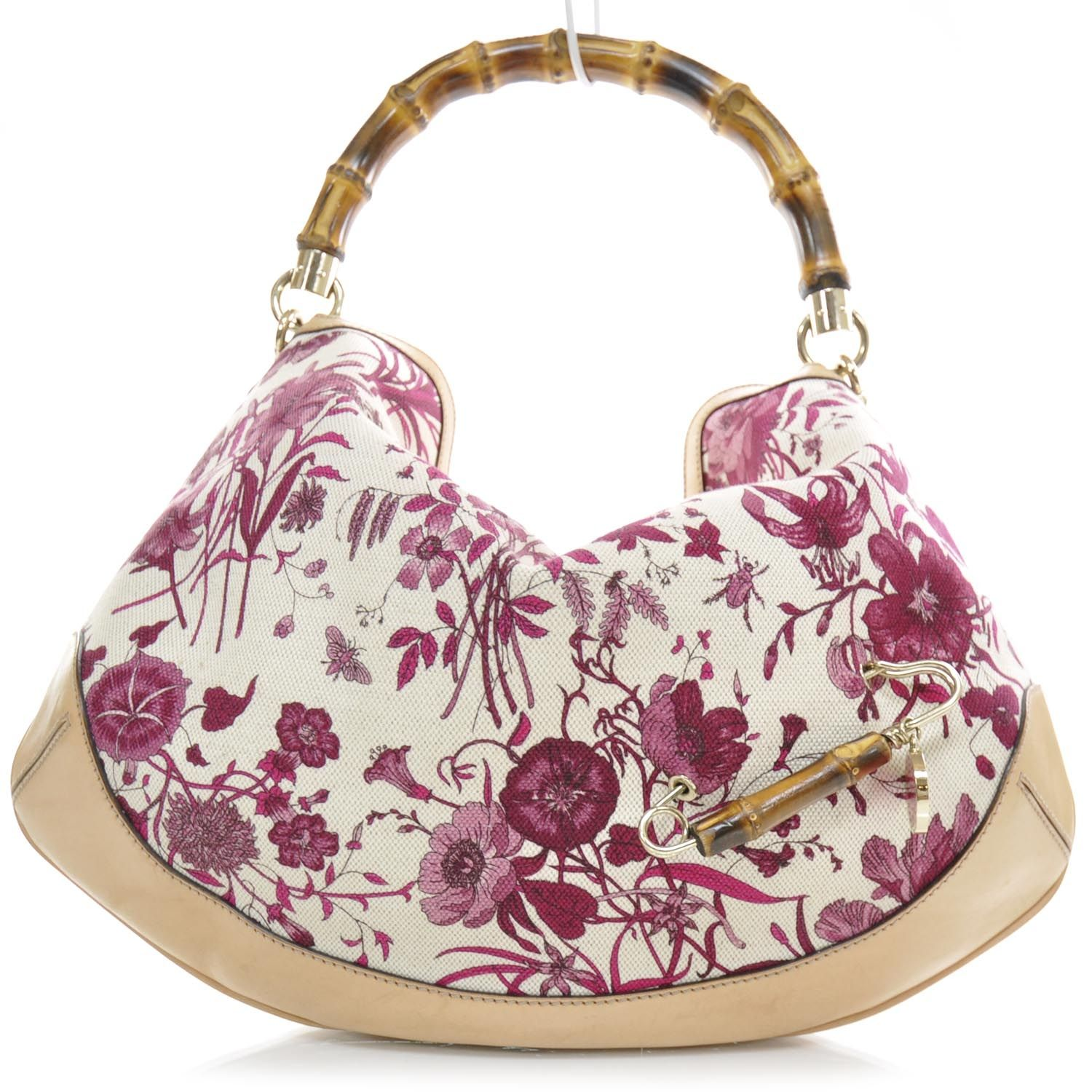 ef1e10fbd GUCCI Canvas Floral Flora Peggy Bamboo Top Handle Hobo | Torby ...