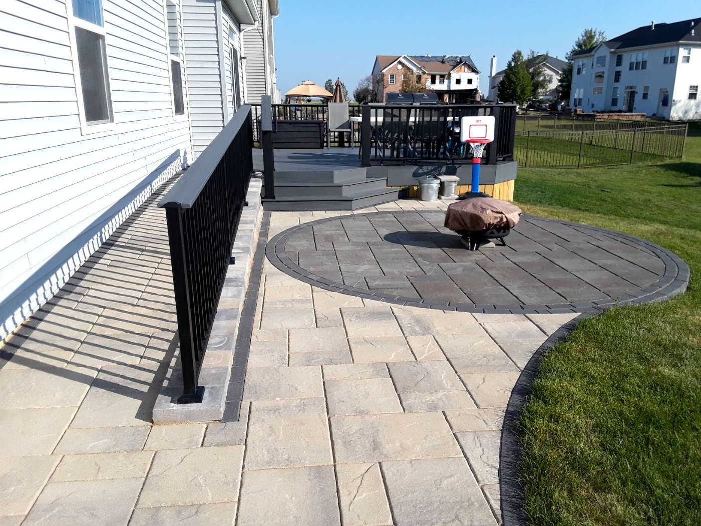 Timber Tech Deck With Belgard Paver Patio By Bolingbrook, IL Deck Designer