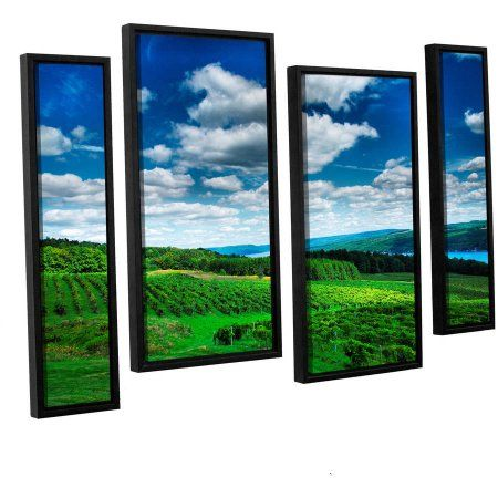 ArtWall 4 Piece Steve Ainsworths Vineyard and Lake Floater Framed Canvas Staggered Set 24 x 36