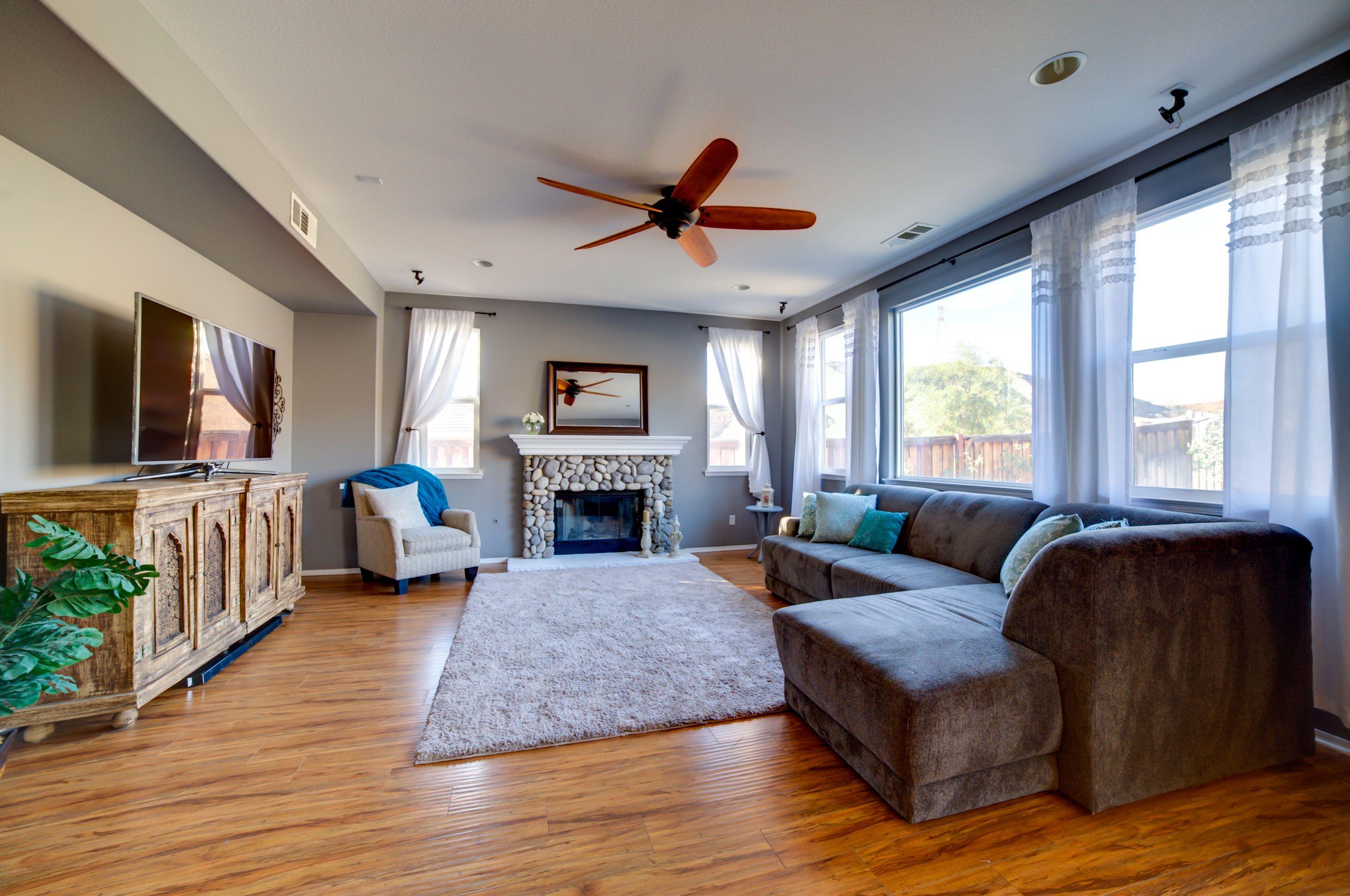Cozy, spacious #boho #livingroom #cobblestone #fireplace ...