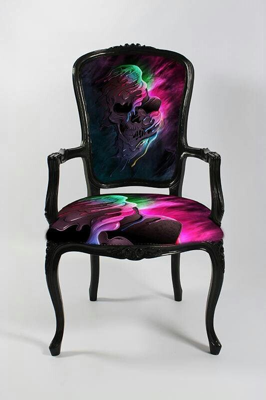 colorful skull chair dark decor pinterest m bel st hle und ausgefallene m bel. Black Bedroom Furniture Sets. Home Design Ideas