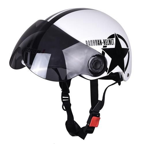 New Motorcycle Half Face Protective Helmet Visort,Men/Women Adult Motorbike/Bike/Bicycle Helmets Side Stars,Half Open Face,