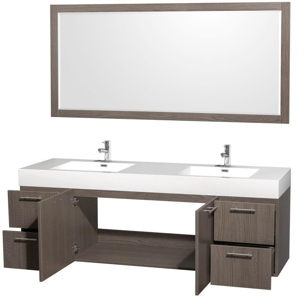 Wyndham Collection Amare 72 In Double Vanity Grey Oak With Acrylic Resin Top White And Integrated Sink Wcr410072goar The Home Depot