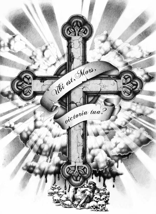 tattoo vorlage griechisch orthodoxes kreuz mit gekreuzigtem jesus mit fahne jesus und nur das. Black Bedroom Furniture Sets. Home Design Ideas