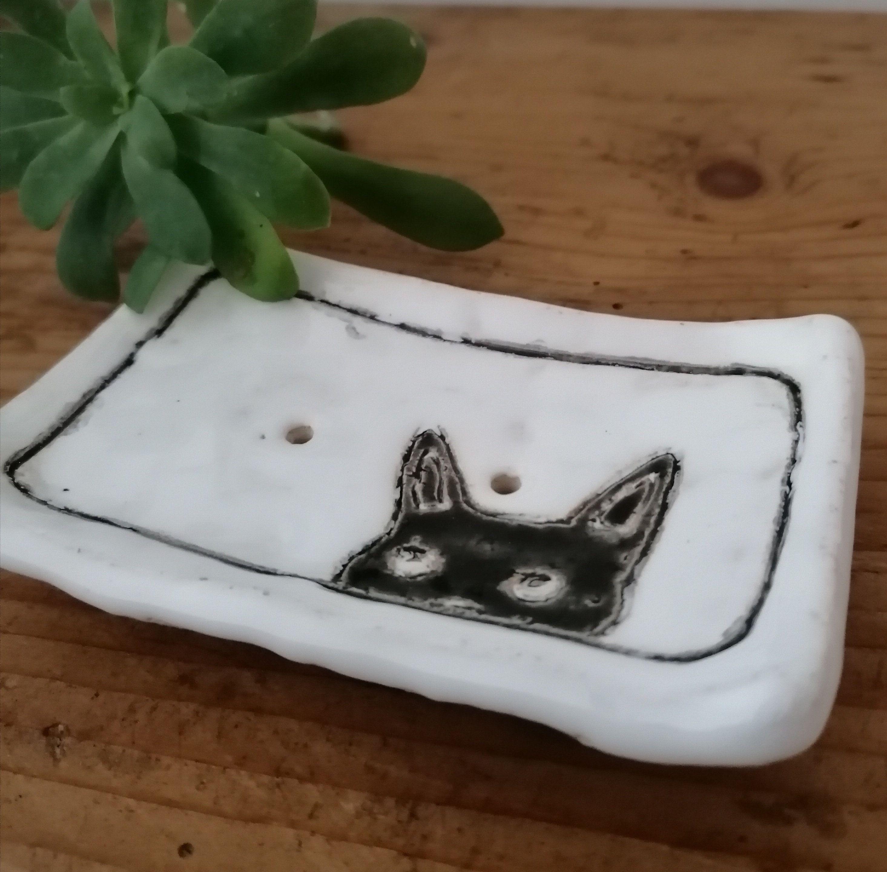 Seifenschale Schwarze Katze Keramik Badezimmer Seife Seifenablage