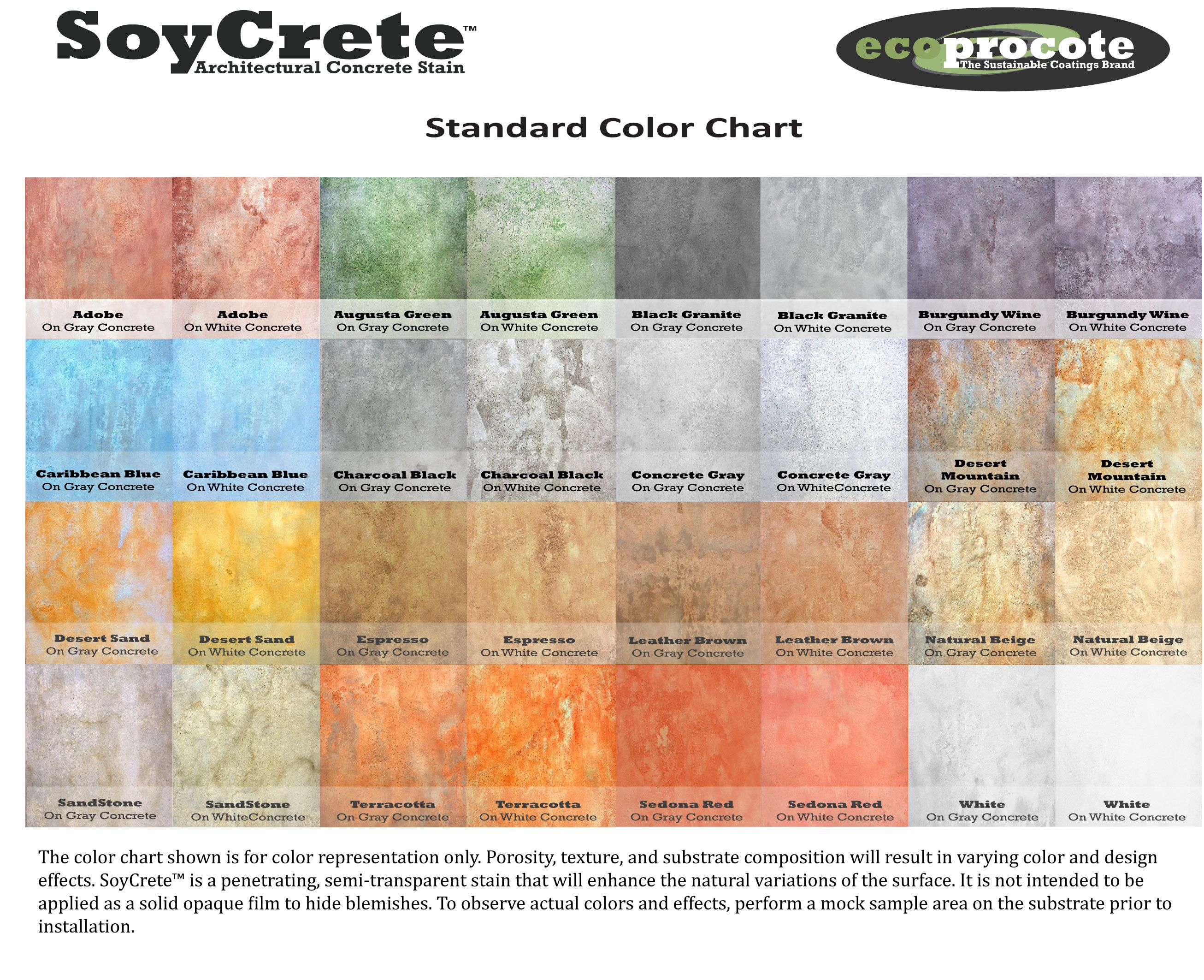 Colored concrete patio pictures soycrete architectural soycrete concrete stain color chart i like the neutrals but it might be nice to do a logo design in the commons in a brighter color nvjuhfo Image collections
