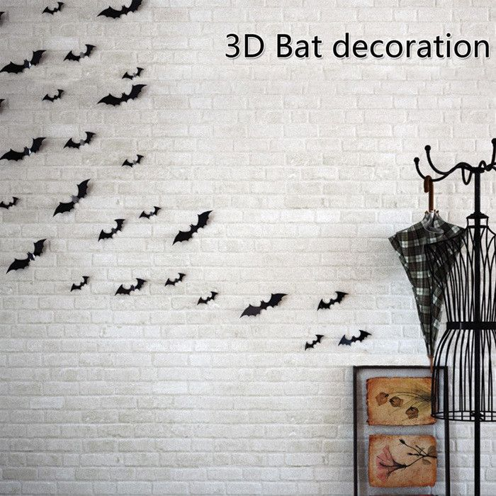 2016 Halloween Decoration 1set/12piece 3D Bat Stickers DIY Halloween - halloween club decorations