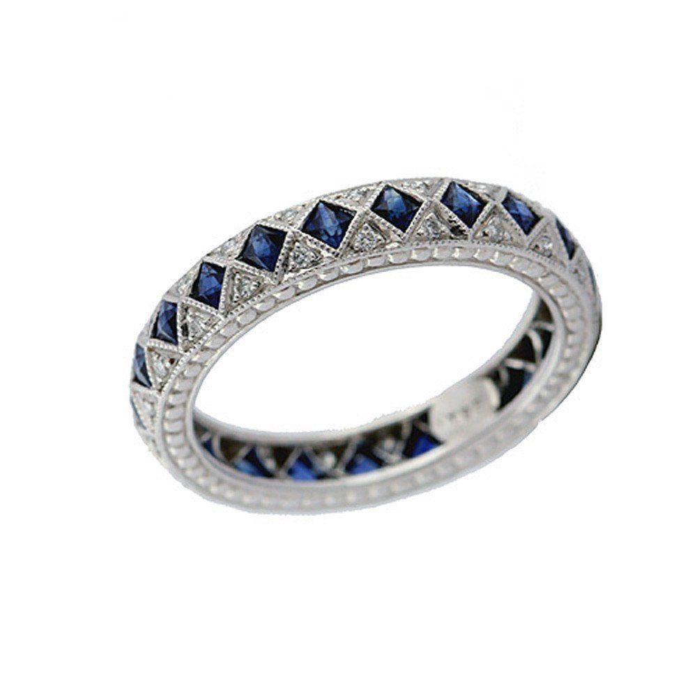 Diamond and sapphire art deco style platinum