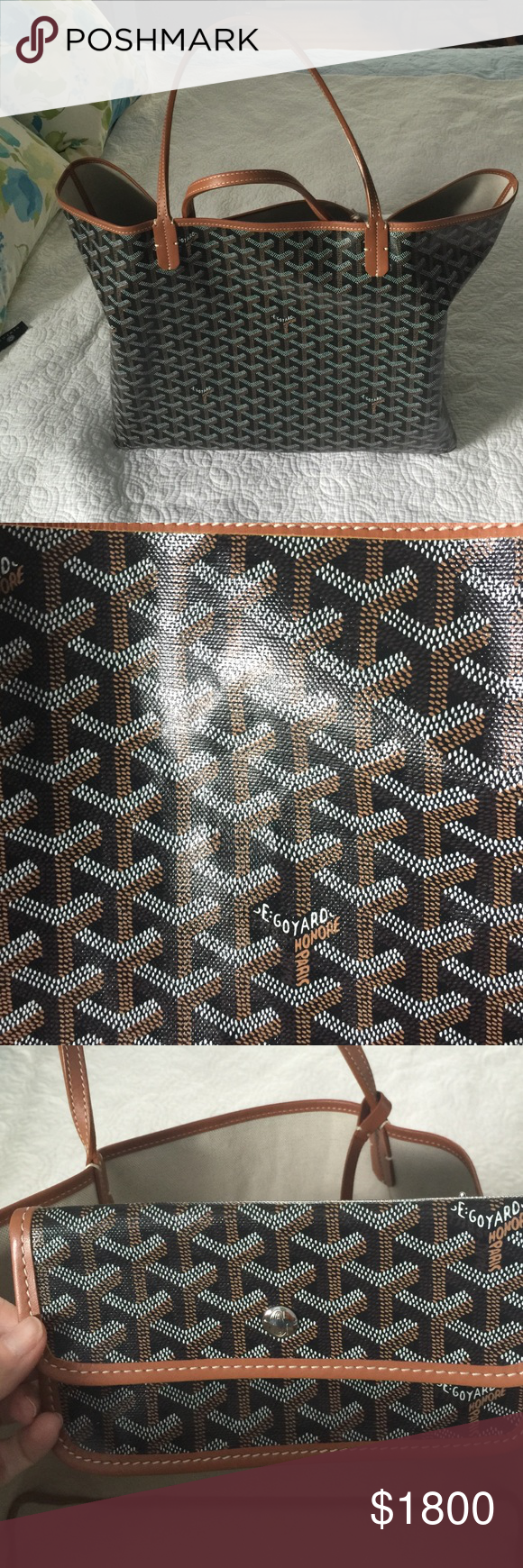 Goyard tote. Black and Tan GM size. Used a handful of times. In great shape. Comes with tags, dust bag, Pouchette. Authentic. No trades. Goyard Bags Totes