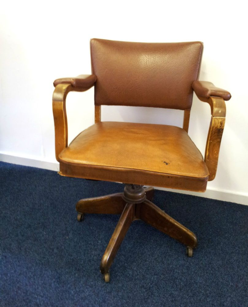 Antique Swivel Desk Chair on Castors Industrial Smoking Captain Leather Wooden