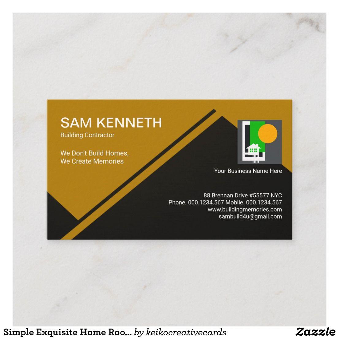 Simple Exquisite Home Roof Building Construction Business Card Zazzle Com Construction Business Cards Construction Business Building Construction