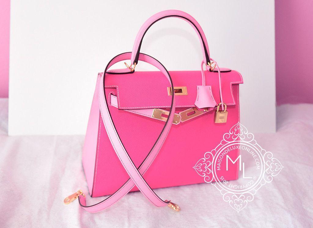 409be1773c4 Hermes 5P Pink Rose Tyrien Sellier Kelly 28 Handbag - New