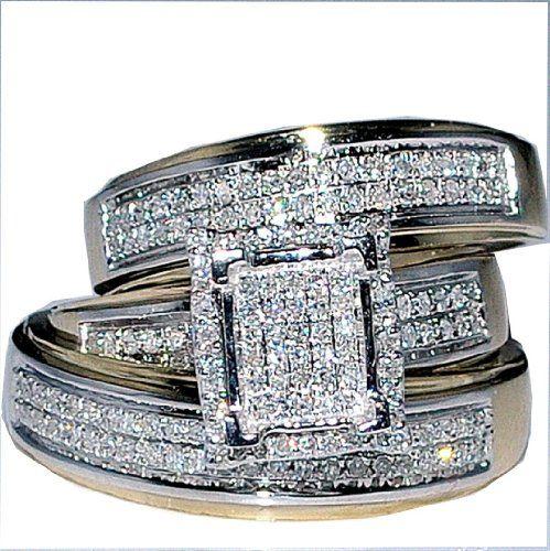 His Her Wedding Rings Set Trio Men Women 10k Yellow Gold: