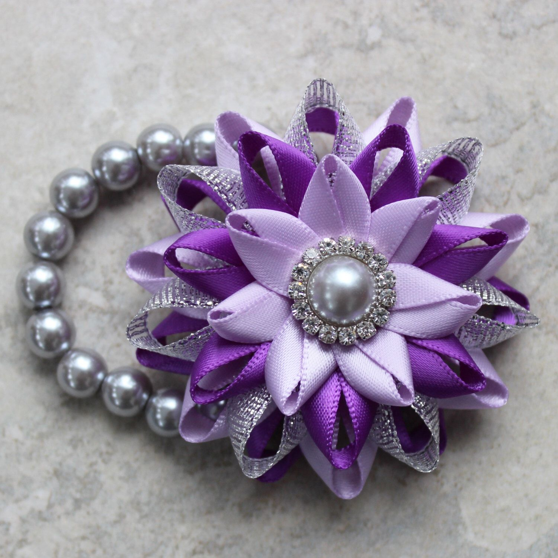 Wrist Corsage Purple Corsage Flower Bracelet Silver Purple Flower Corsage