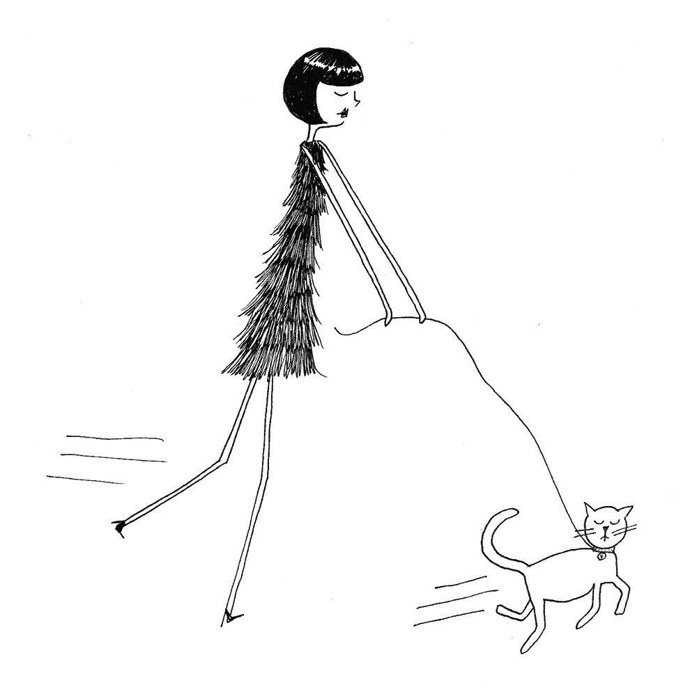 The cat takes Eloise for a walk 8 x 10 art print by flapperdoodle