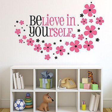 Believe in yourself vinyl wall decal sticker girls nursery quote believe in yourself wall decal by decor designs decals quote measures wide x high