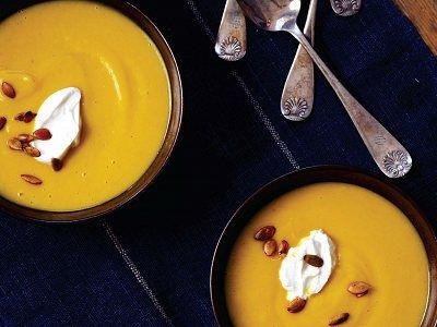 Squash Soup with Almond Cream & Spiced Pumpkin Seeds from Candle Cafe