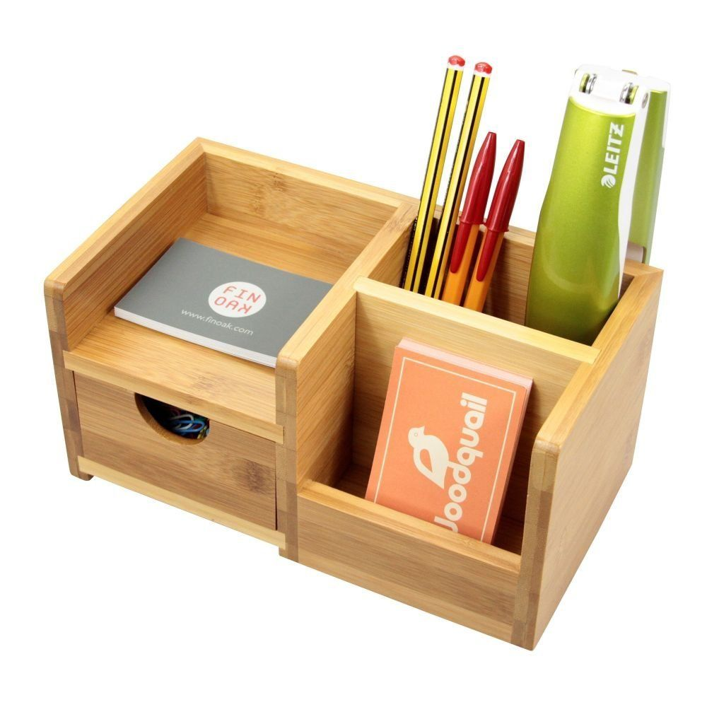 desk organiser pen holder and drawer desk tidy of 4 compartments made of natural bamboo