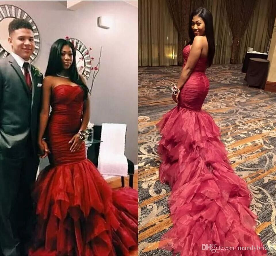 2018 Fashion Sexy Prom Dresses with Cascading Ruffles Mermaid Couple ...