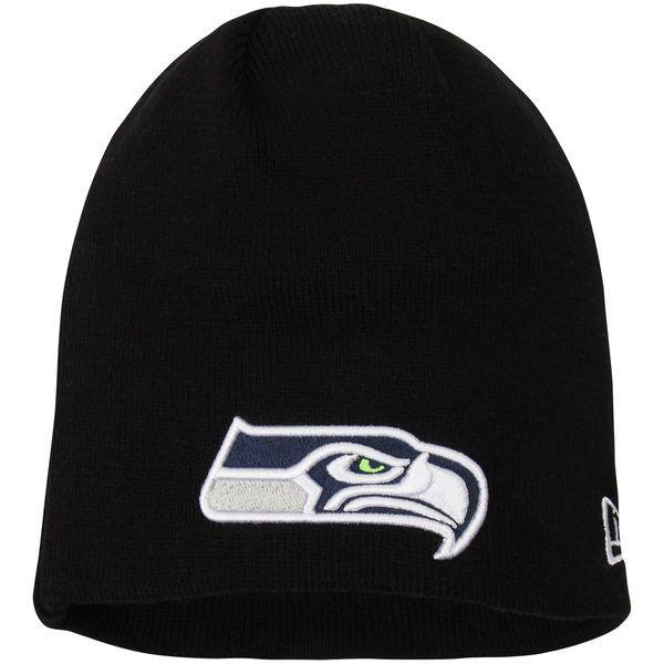 d3a79611c16 Men s Seattle Seahawks New Era Black Solid Uncuffed Knit Beanie ...