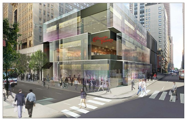 Rendering of Cheesecake Factory at 15th and Walnut.