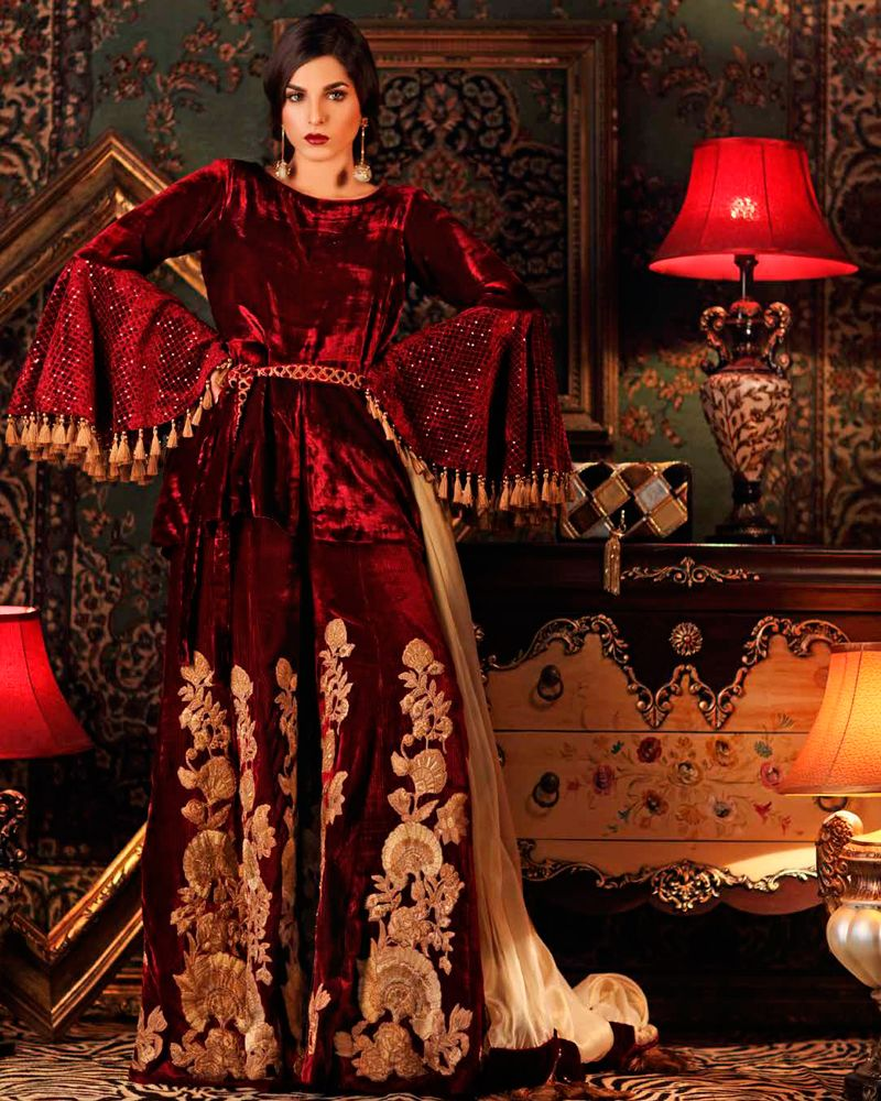 Winter Velvet Dresses Designs Latest Trends Collection 2018 19 By