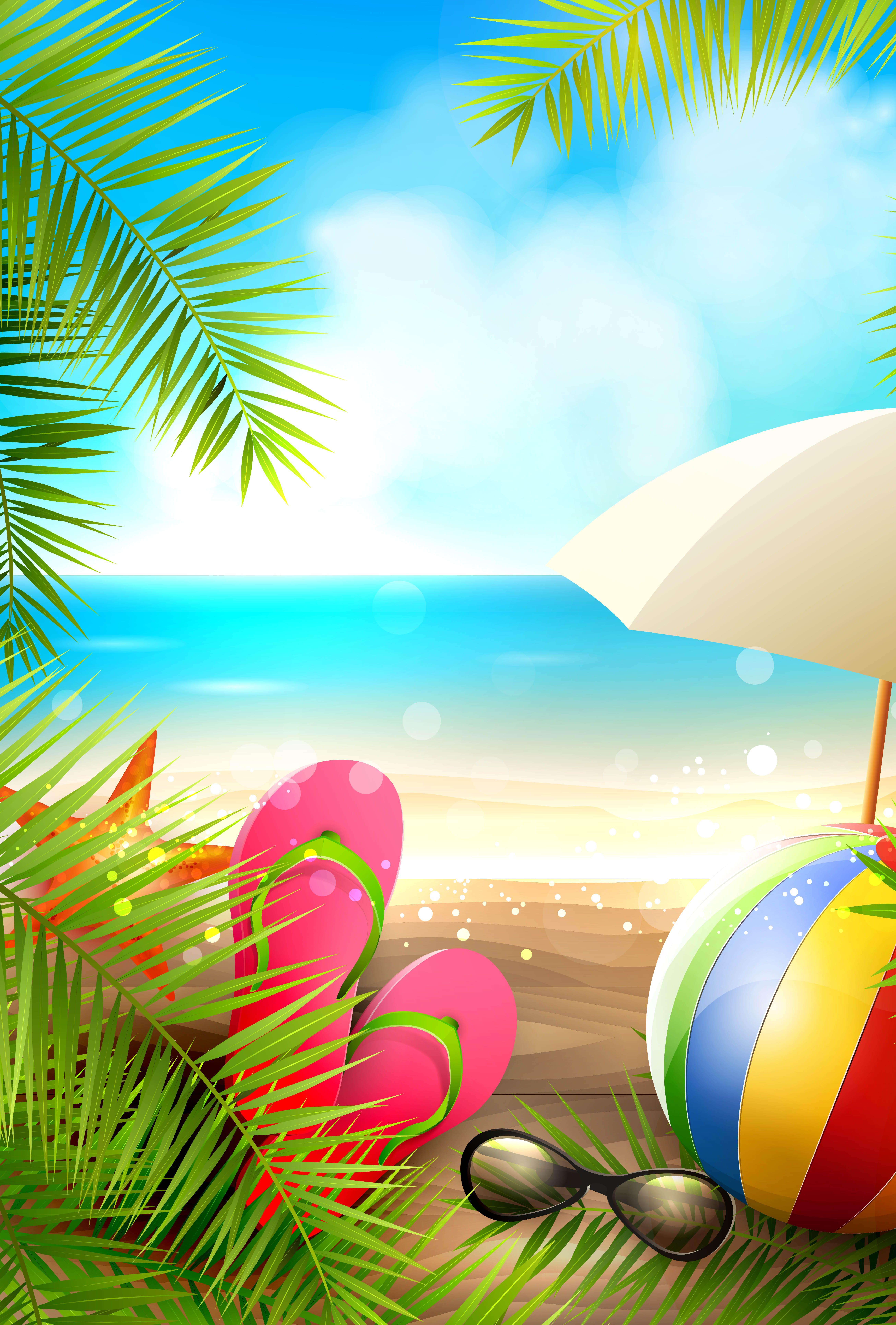 Summer Beach Vector Background Summer Wallpaper Beach Art Beach Painting
