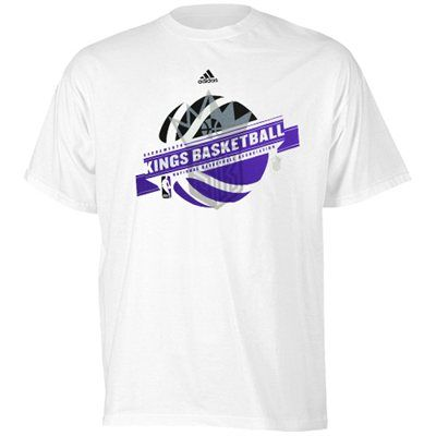 adidas sacramento kings banner basketball t shirt white