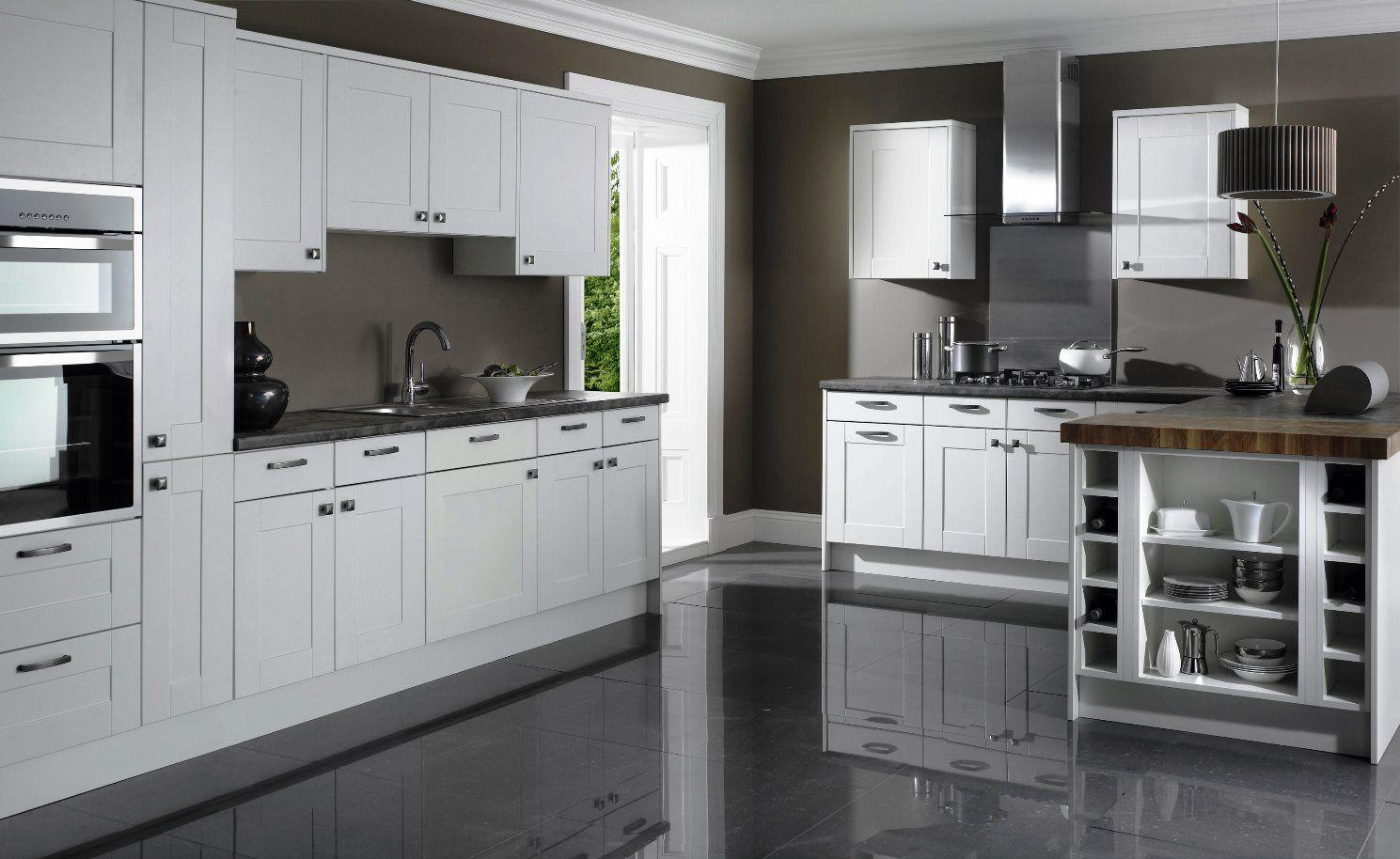 White Shaker Kitchen Cabinets Grey Floor Idea Grey Kitchen Floor