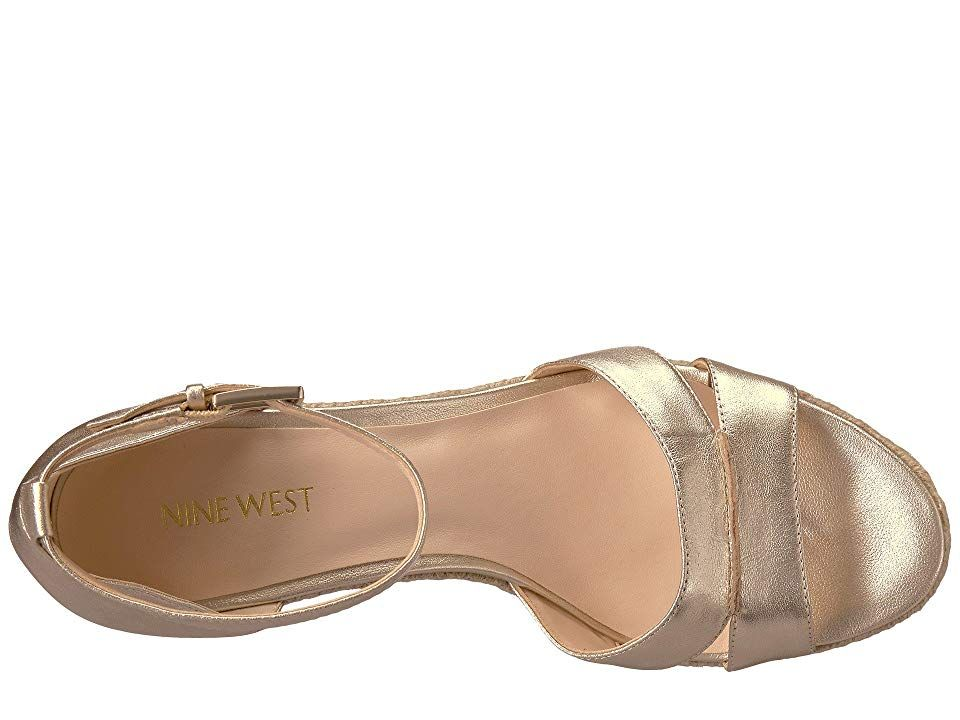 c3f54e9a6dd Nine West Jabrina Espadrille Wedge Sandal Women s Shoes Light Gold Metallic