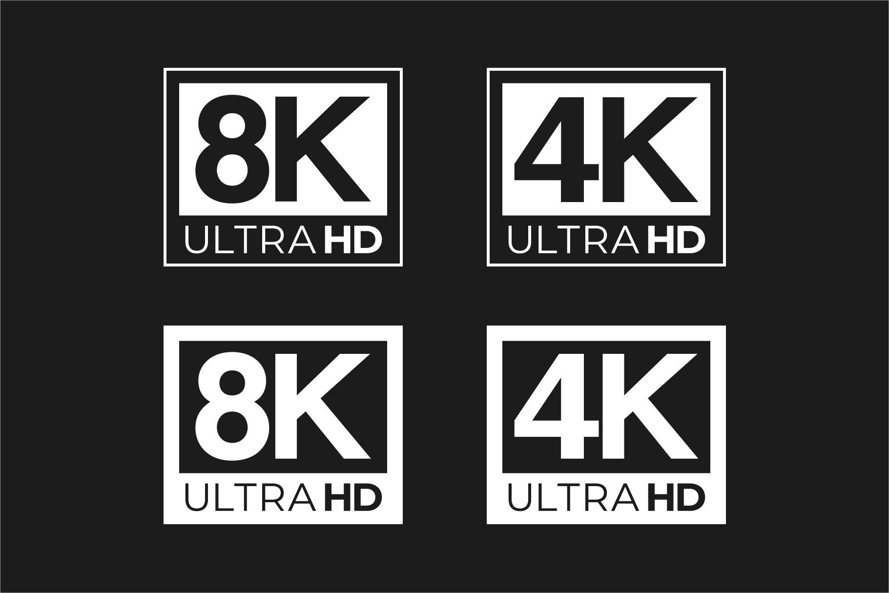 4k 8k Ultra Hd And Hdr Logo Set Logo Set Logos Infographic Templates