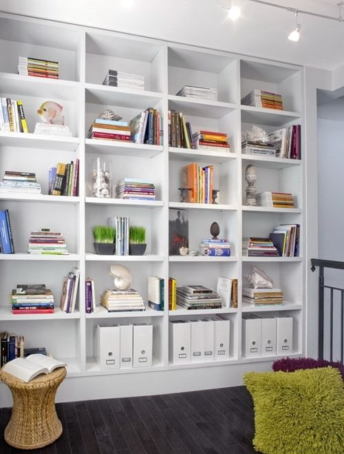 White Bookshelves Black Floorboards Home Library Design Minimalist Home Home Library