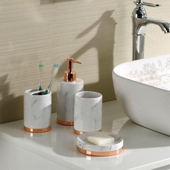 20+ Beste Amazon Weiß und Gold Badezimmer Zubehör zu kaufen