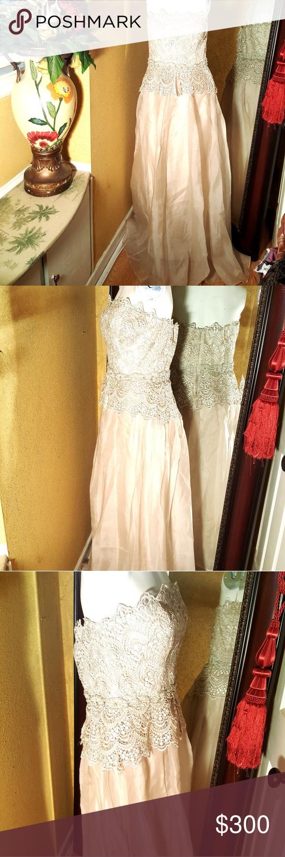 Lace wedding dress under 300  Badgley Mischka lace strapless dress bridal gown  My Posh Picks