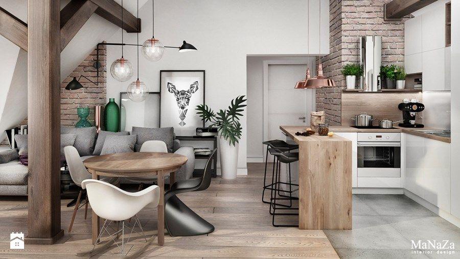 Mieszkanie Na Poddaszu Mały Salon Z Kuchnią Z Jadalnią