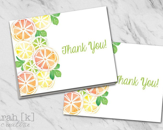 Citrus fruit thank you notes. Perfect compliment to any summer party.